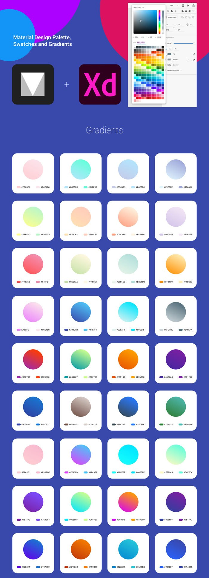 material xd palettes gradients