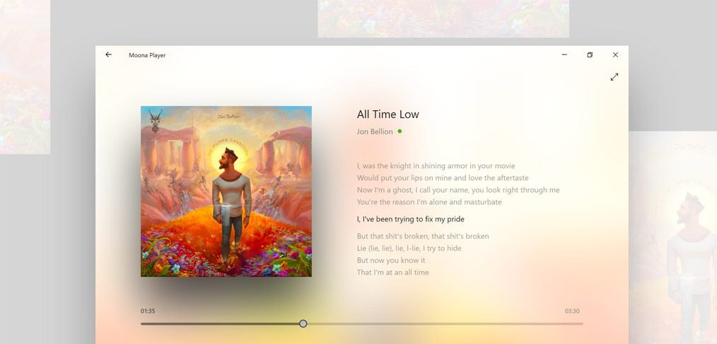 Moona - Adobe XD Music Player Concept