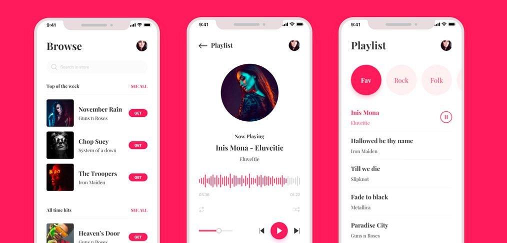 Music Player App UI Kit Adobe XD