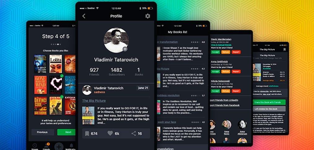 Books review free mobile UI kit