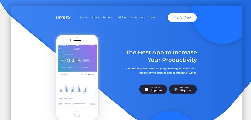 App Landing page template for XD (v2)