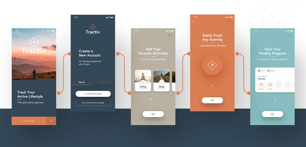 Tractiv - Free Adobe XD UI kit