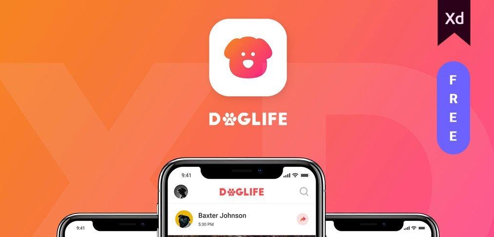 Doglife - A free UI kit for Adobe XD