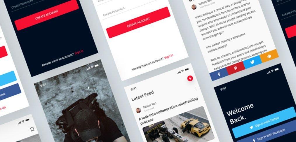 Blog app Free XD template