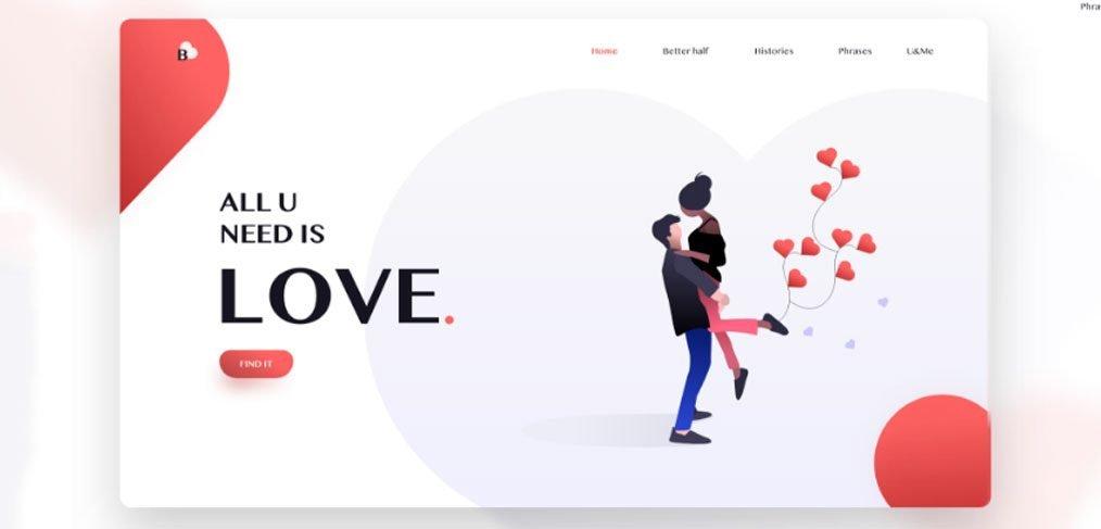 Love - Basic landing page concept