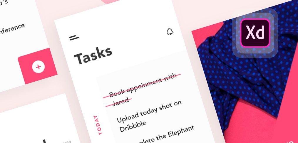 Todo task app XD concept