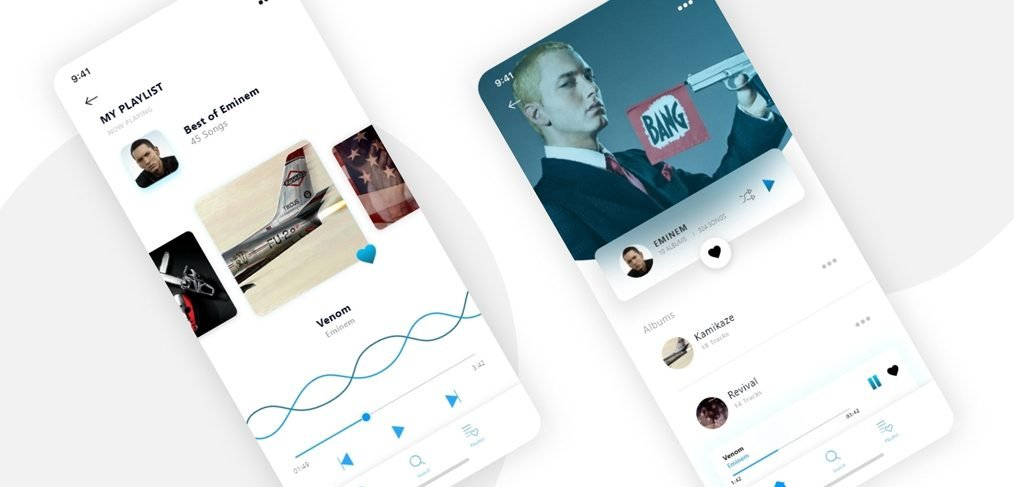 Music player mobile screens for XD