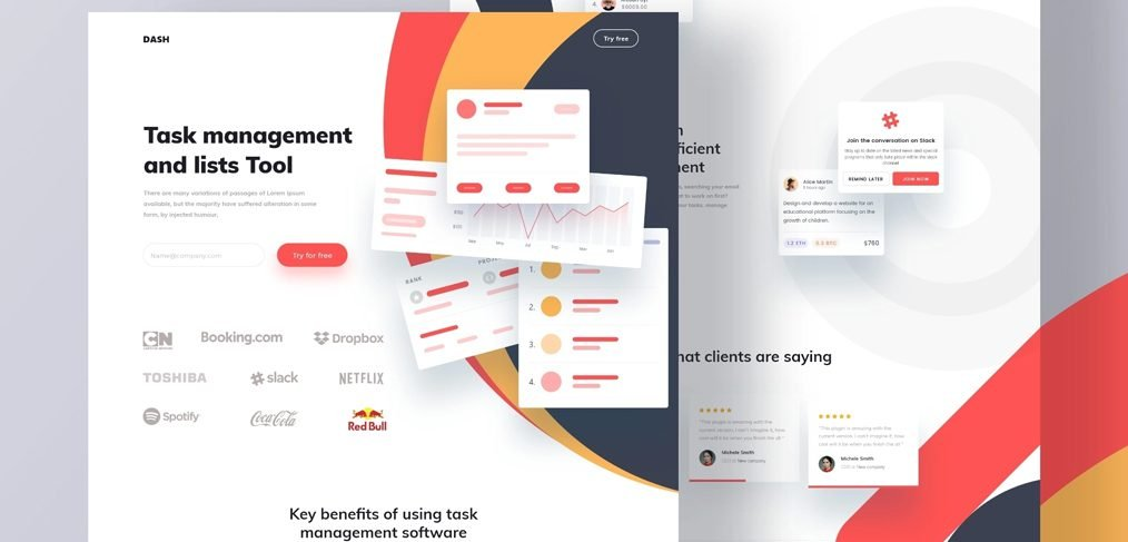 Task manager XD landing page template