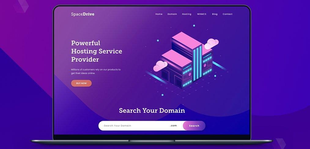 Web hosting website XD template