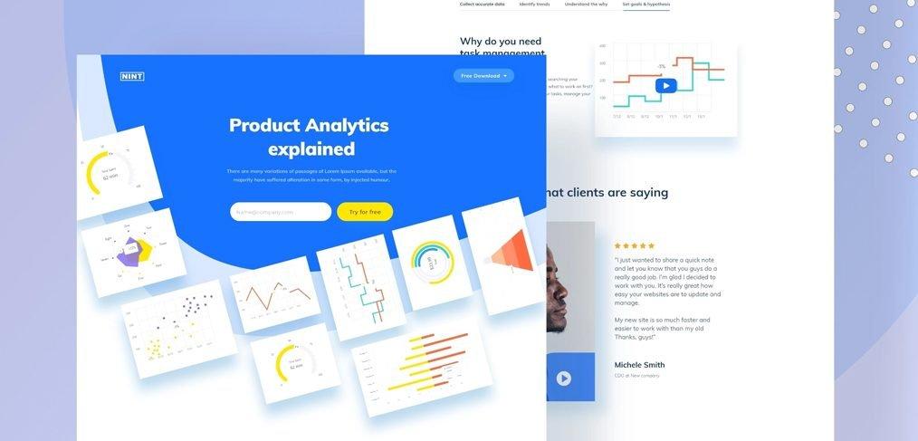 XD Analytics landing page concept
