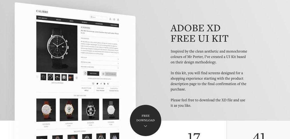 XD Ecommerce free UI kit