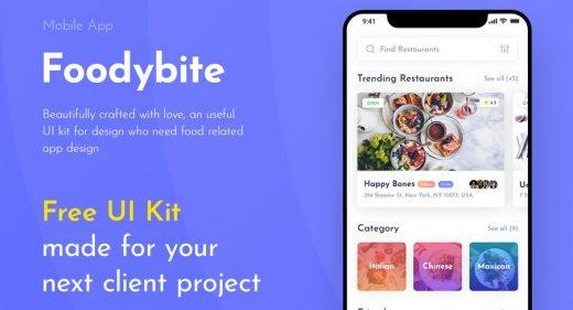 Foodybite - Free Adobe XD UI kit