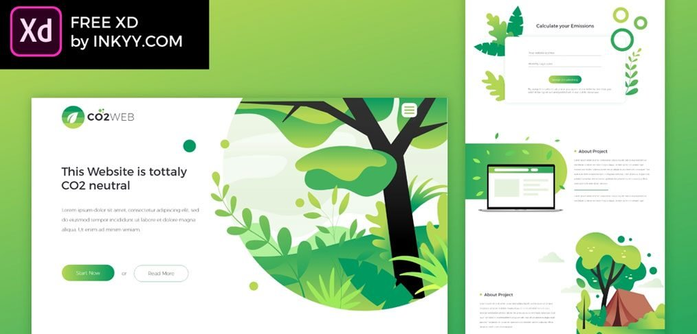 Nature free website template for XD