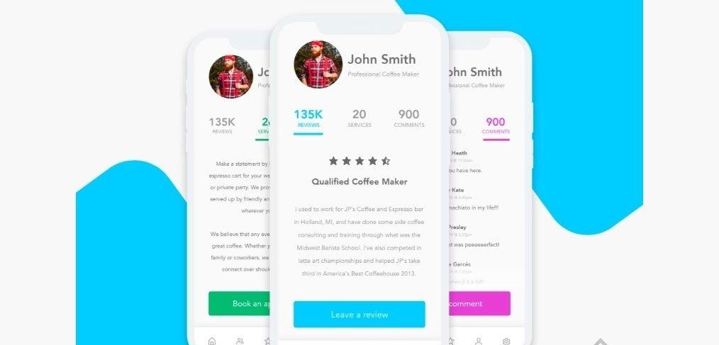Reviews mobile app XD concept
