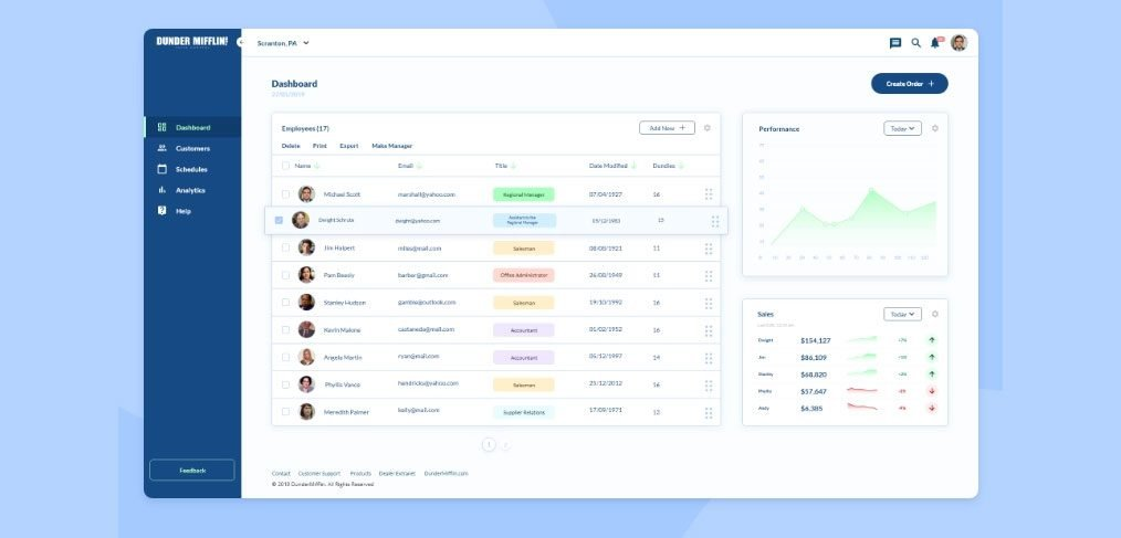 XD simple dashboard template