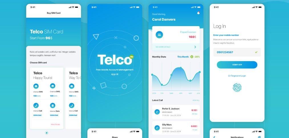 Telco free mobile XD ui kit