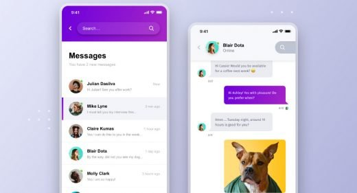 Chat app mobile template for XD