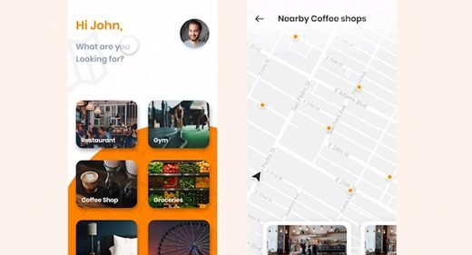 Coffee shop finder XD mobile concept