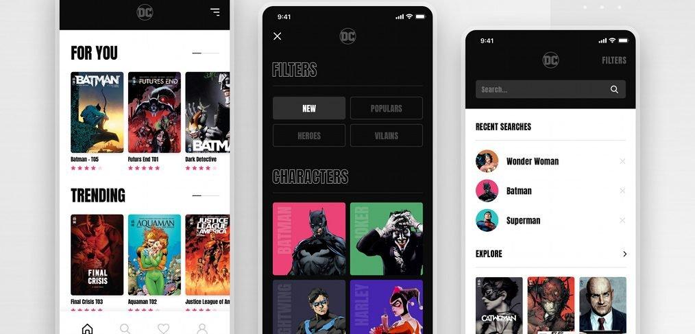 DC comics XD mobile app concept