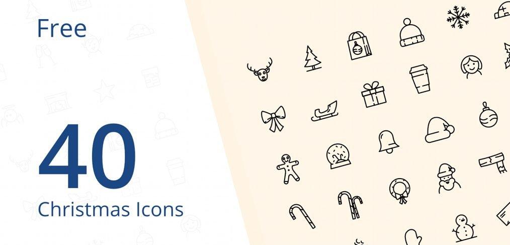 40 Free Xmas Icons for Adobe XD