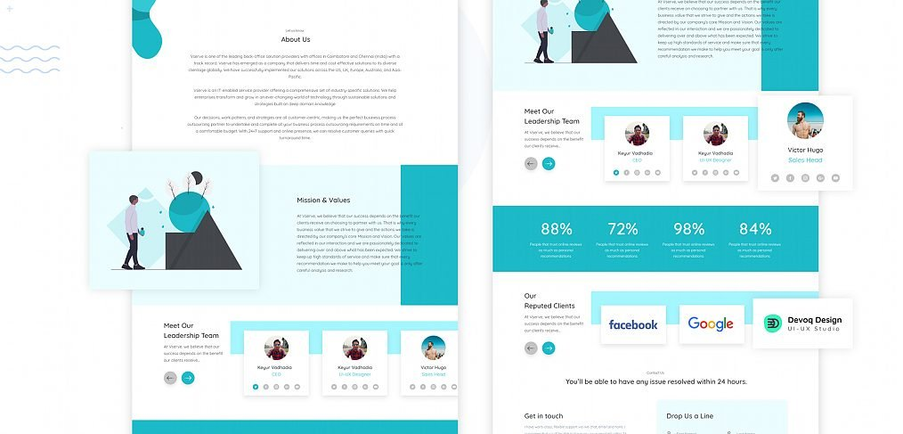 About us web page template for XD