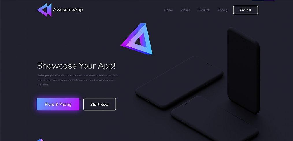 App showcasing XD landing page