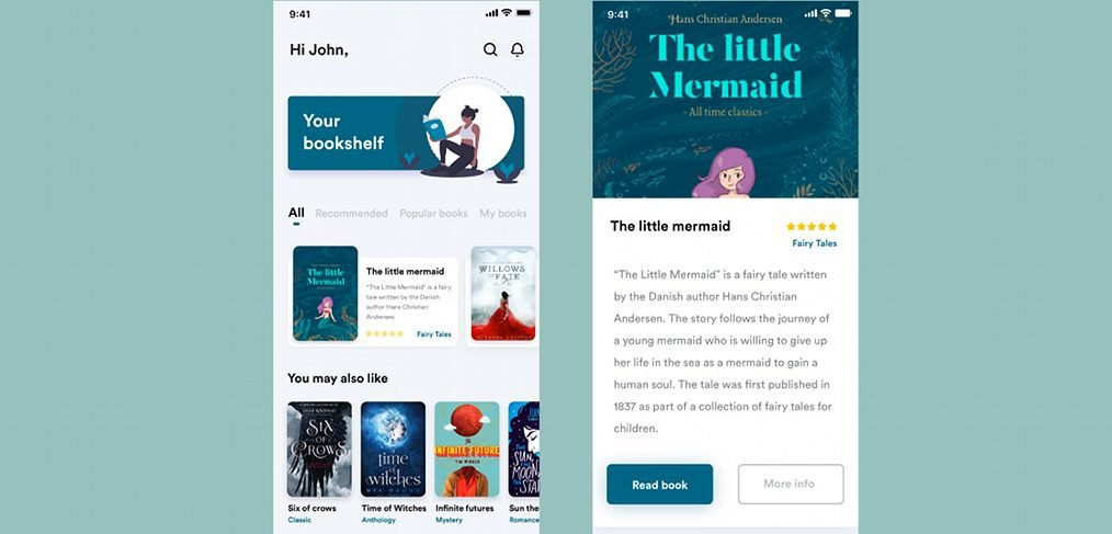 Book app mobile animation