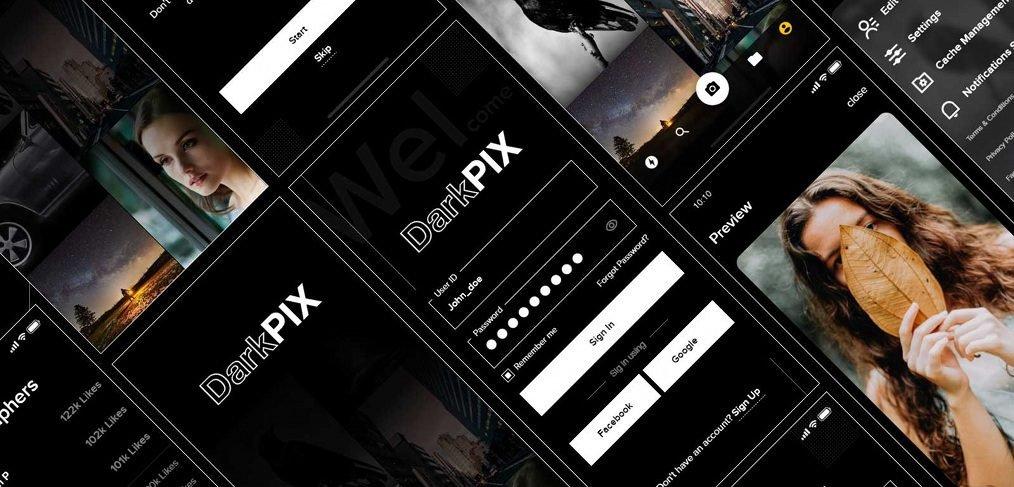DarkPIX free stock images XD UI kit