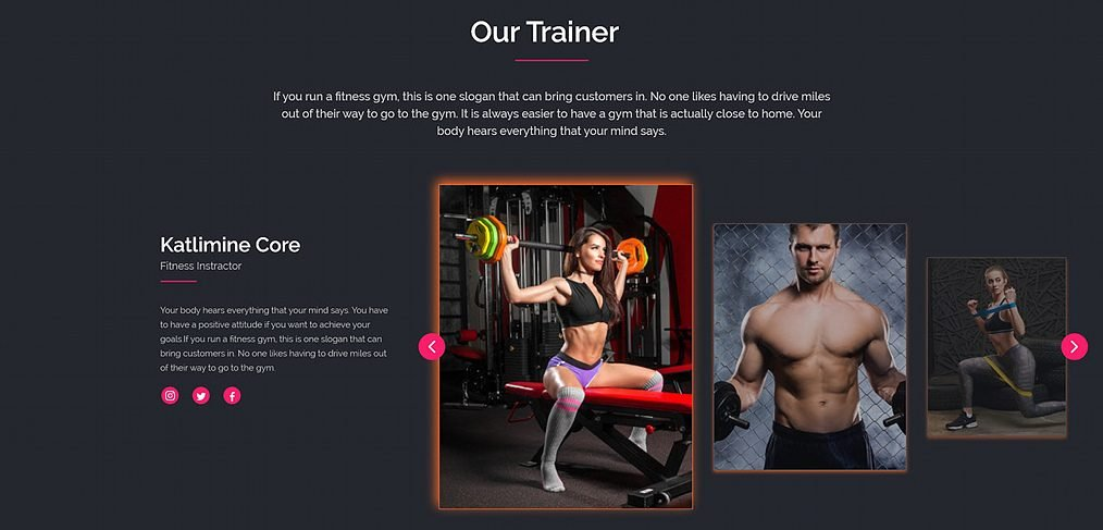 Fitness Website Free XD Template