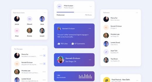 Free cards UI kit for XD