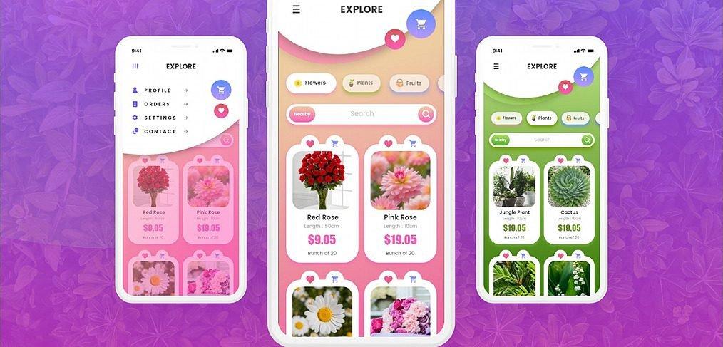 Flower app animated XD template