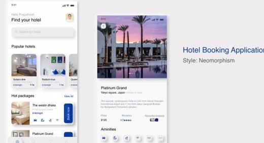 Hotel Booking Neomorphic app concept