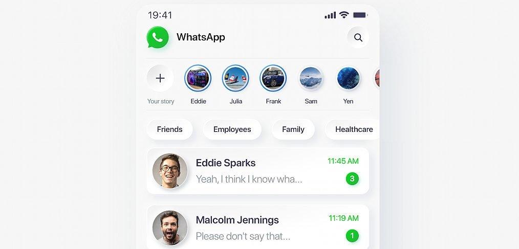 Neomorphic Whatsapp redesign with XD