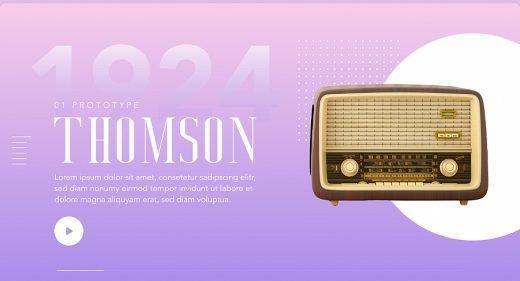 Radio history animated XD landing
