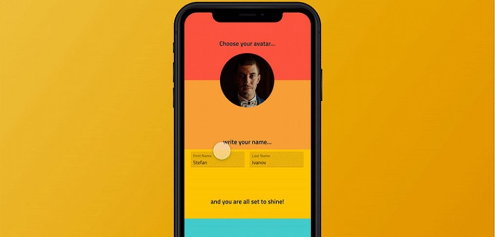 User profile animated signup