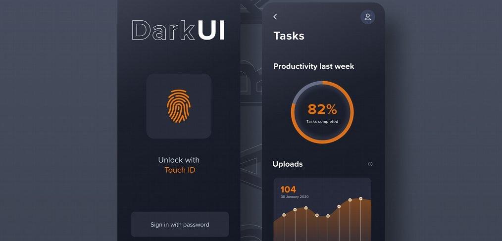 Dark UI app XD concept
