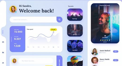 Profile dashboard free XD UI kit