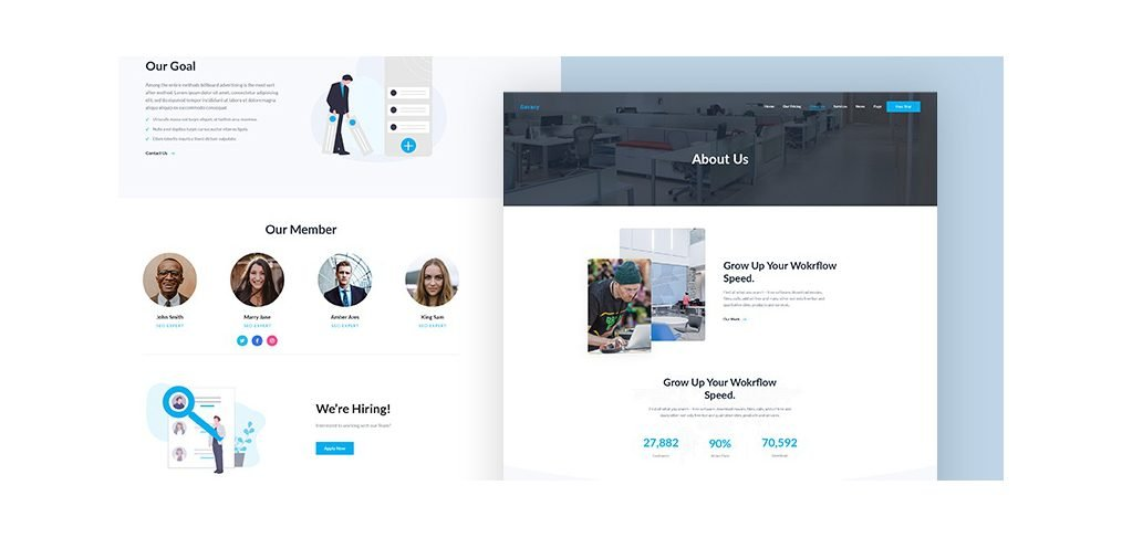 About us XD page template