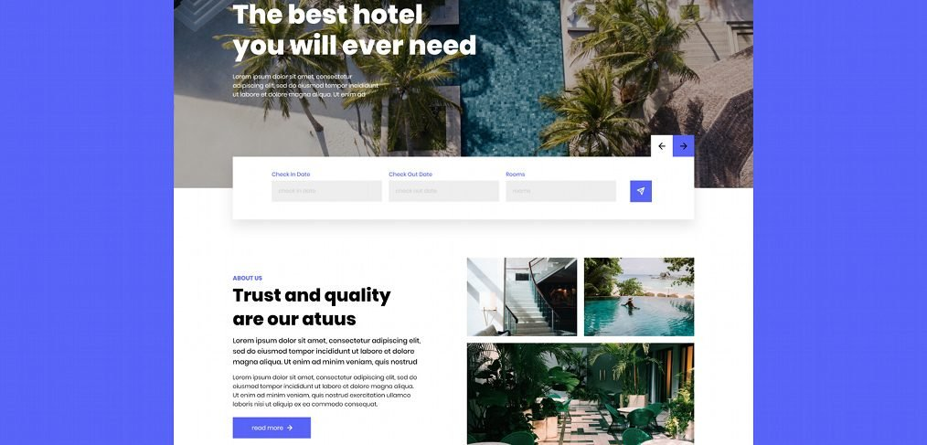 Hotel XD website template