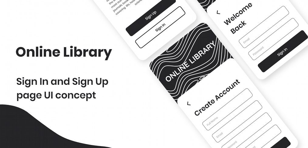 Library login/signup XD wireframe