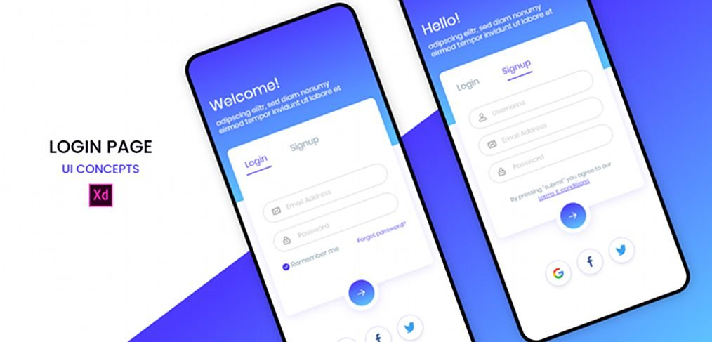 Signup/login XD mobile template