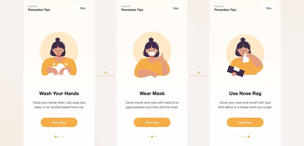 Covid onboarding mobile concept