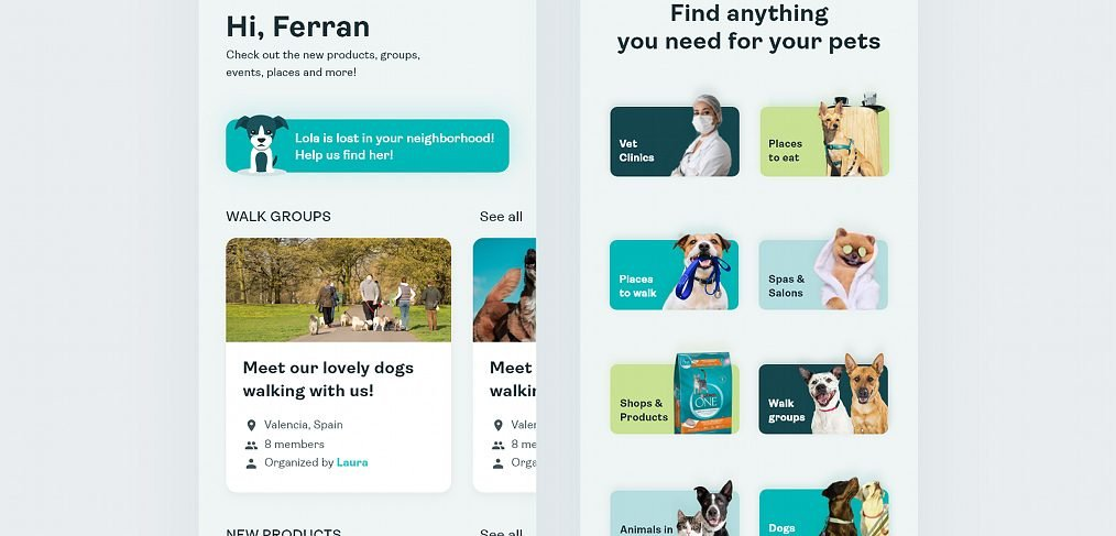 Pets care XD app template