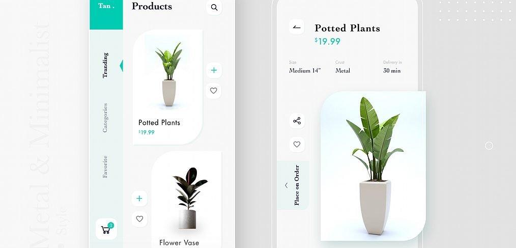Plants app template for Adobe XD
