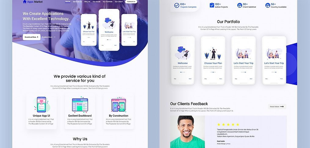 Adobe XD app landing page concept