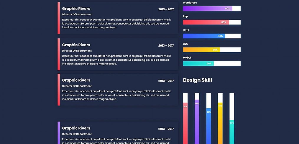 Dark CV resume template for XD