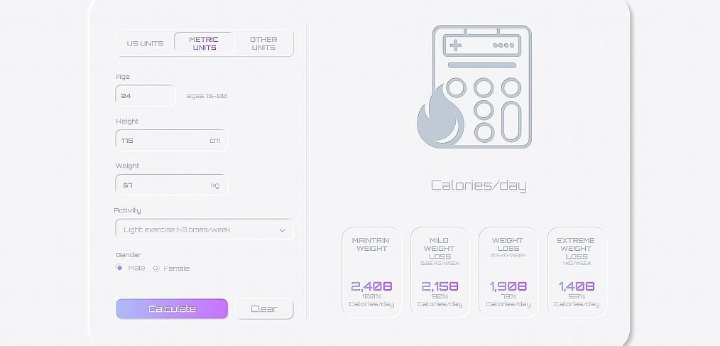 Neumorphic calories XD calculator