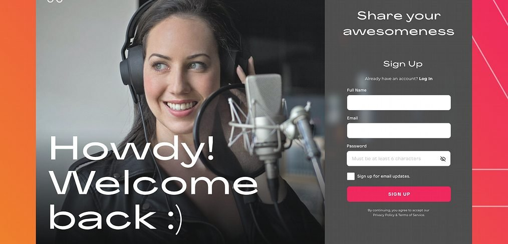 XD Free signup screen template