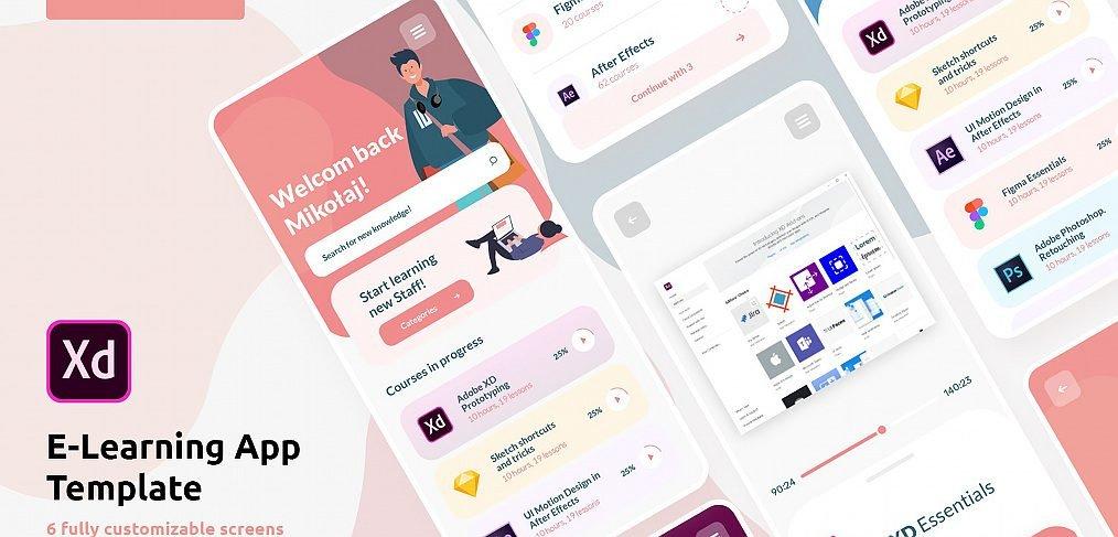 E-learning free XD UI kit