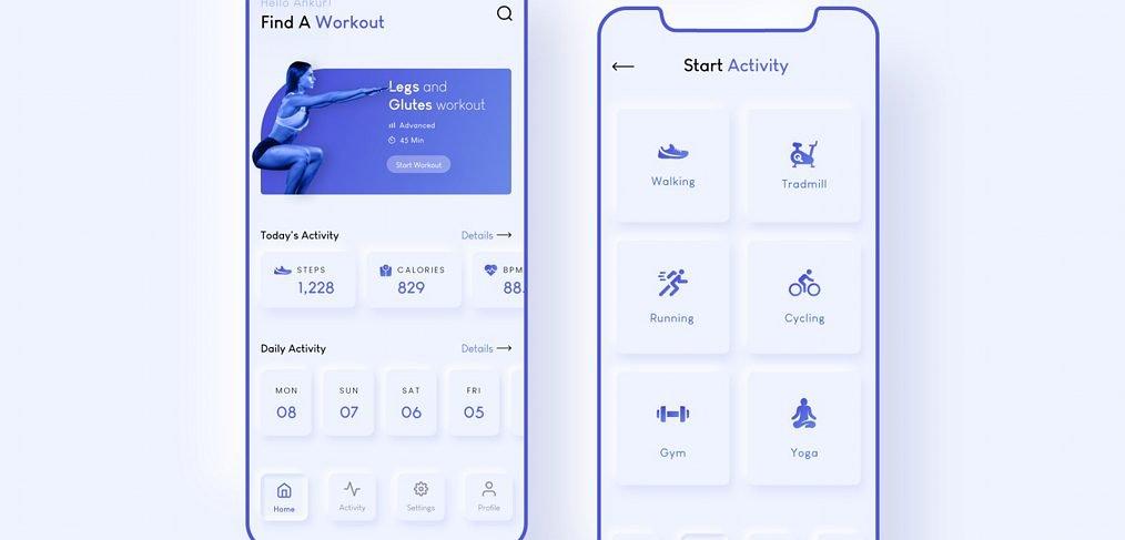 Neumorphic workout XD app